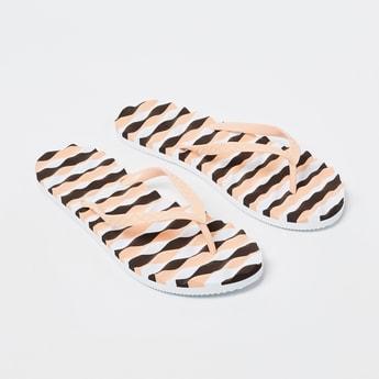 GINGER Striped Textured Flip-Flops