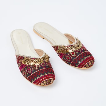 MELANGE Sequinned Mules with Metal Accents