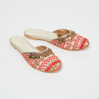 MELANGE Embroidered Mules with Sequin Embellishments