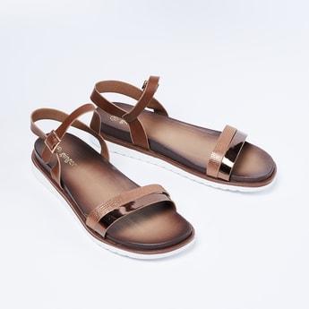 GINGER Sheen Detailed Ankle-Strap Sandals