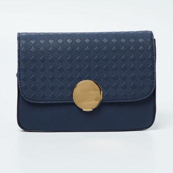 CODE Textured Flap-Closure Sling Bag