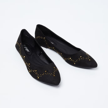 GINGER Pointed-Toe Studded Ballerina Shoes