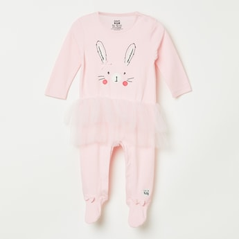 FS MINI KLUB Bunny Applique Tulle Detail Sleep Suit