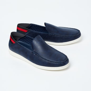 FORCA Textured Loafers with Striped Heel Collar