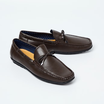 CODE Solid Loafers with Mock Tie-Up