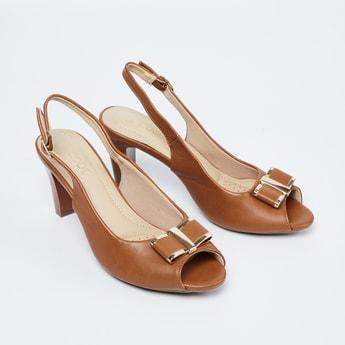 CODE Peep-Toe Slingback Cone Heels