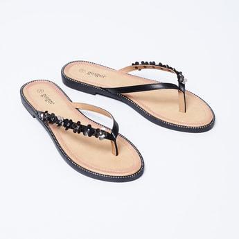GINGER Embellished Open-Toe Flats