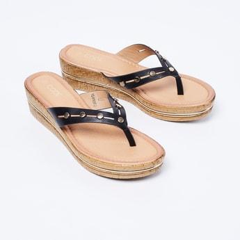 CODE Embellished Open-Toe Flatforms