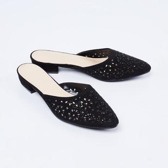 MELANGE Laser Cut-Out Detail Slip-On Heels