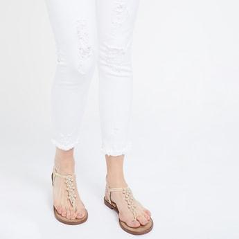 GINGER T-strap Slingback Flat Sandals with Floral Applique