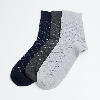 CODE Men Checked Formal Socks - Pack of 3