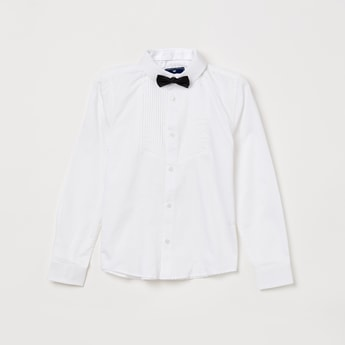 FAME FOREVER YOUNG Pintucked Shirt with Bow Tie