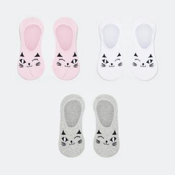 GINGER Women Kitten Pattern No-Show Socks - Pack of 3