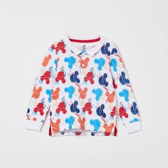 JUNIORS Printed Full Sleeves Polo T-shirt