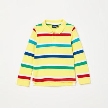 JUNIORS Striped Full Sleeves Polo T-shirt