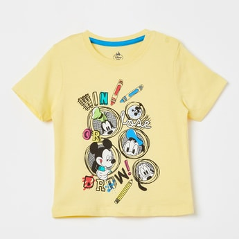 JUNIORS Mickey & Friends Print Crew-Neck T-shirt