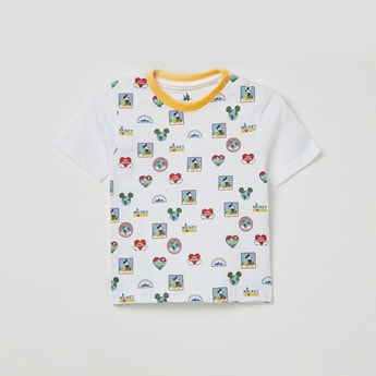 JUNIORS Mickey Mouse Print Crew-Neck T-shirt