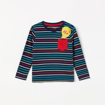 JUNIORS Striped Full Sleeves T-shirt