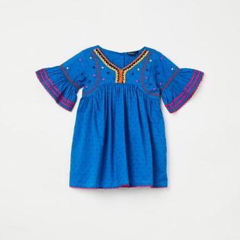 JUNIORS Textured Bell Sleeves Dress