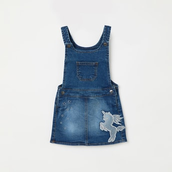 JUNIORS Washed Applique Denim Romper