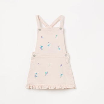 JUNIORS Embroidered Ruffled Hem Dungarees