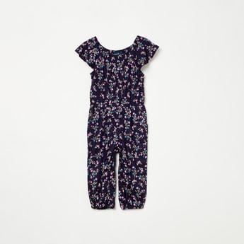 JUNIORS Floral Print Ruffled Cap Sleeves Jumpsuit
