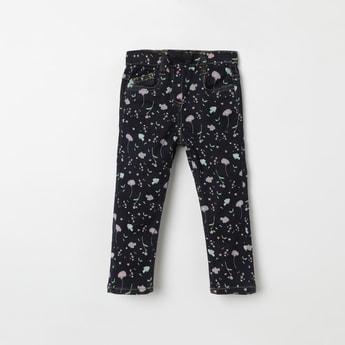 JUNIORS Floral Print 5-Pocket Jeans