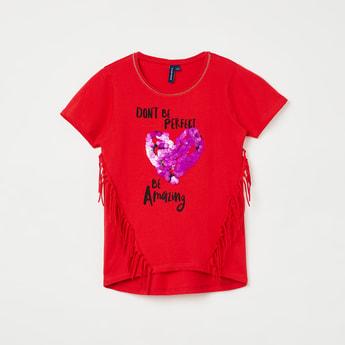 FAME FOREVER KIDS Embellished Fringe Detailed Top
