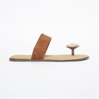 INC.5 Flat Sandals with Stone Embellishment
