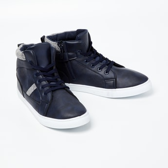 FAME FOREVER Appliqued Lace-Up High-Top Boots