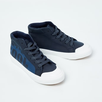 FAME FOREVER Typographic Print High-Top Casual Shoes
