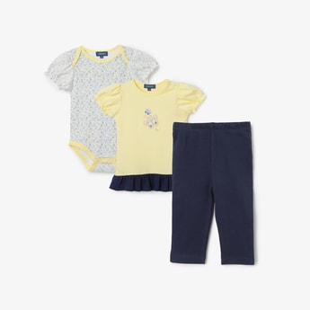 JUNIORS BASICS Printed Romper with T-shirt and Pyjamas