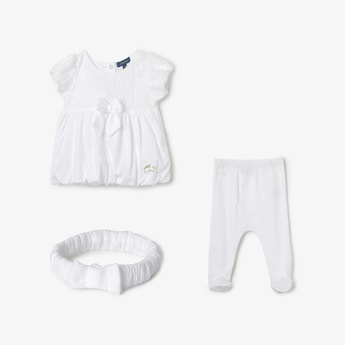 JUNIORS BASICS Floral Lace Top with Pants & Headband