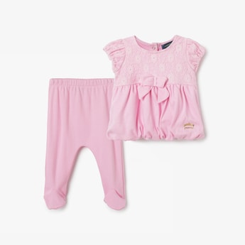 JUNIORS BASICS Lace Detailed Top with Leggings and Headband