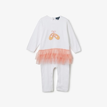 JUNIORS BASICS Embroidered Tulle Detailed Rompers