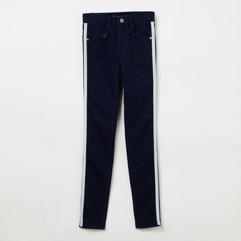 PEPE JEANS Solid 5-Pocket Jeans with Contrast Taping