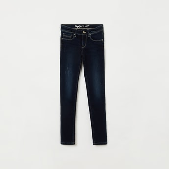 PEPE JEANS  Distressed Low Rise Skinny Fit Jeans