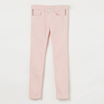 PEPE JEANS Solid Jeans with Embellished Pockets