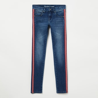 PEPE JEANS Mid-Washed Jeans with Contrast Taping