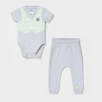 FS MINI KLUB Printed Romper with Pyjamas