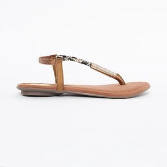 CATWALK Embellished T-strap Flat Sandals