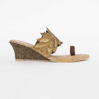 CATWALK Toe-Ring Sequinned Wedges with Leaf Accent