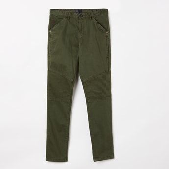 INDIAN TERRAIN Solid Panelled Slim Fit Trousers
