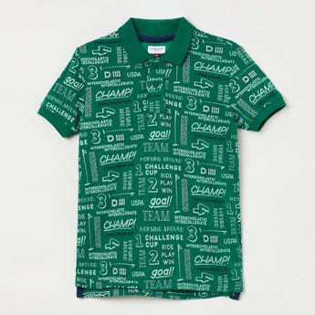 U.S. POLO ASSN. KIDS Typographic Print Polo T-shirt