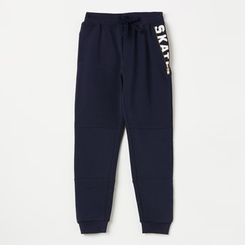 ALLEN SOLLY Solid Joggers with Printed Zip Pocket Detail