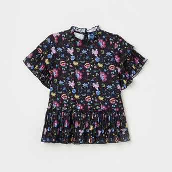 FAME FOREVER YOUNG Floral Print Three-quarter Sleeves Top