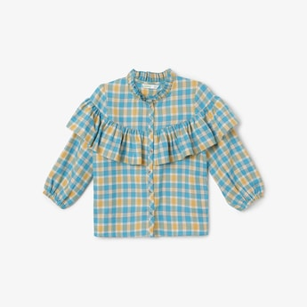 BOSSINI Checked Shirt with Ruffled Panel