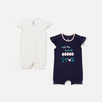 FS MINI KLUB Printed Cap Sleeves Romper - Set of 2