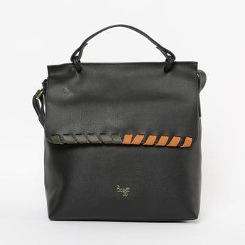 BAGGIT Textured Satchel Bag with Flap