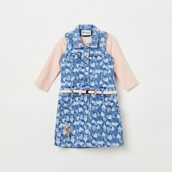 PEPPERMINT Heart Print  Pinafore with Solid T-shirt